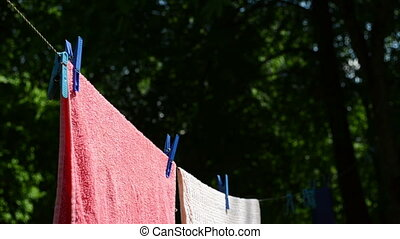 laundry dry move wind - Laundry clipped with pins dry...