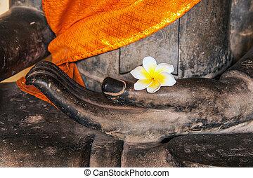 Buddha image with yellow robe, flower (Plumeria or Dok...