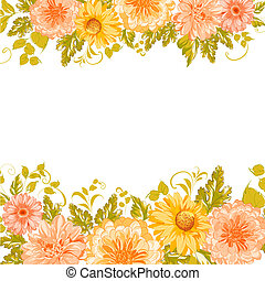Invitation card with flowers.  illustration.