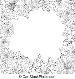 Frame of beautiful chrystant flowers. - Frame of beautiful...