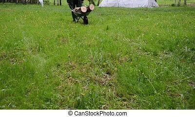 man garden worker wood - garden worker man carry wheelbarrow...
