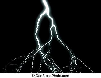 Lightning - A flash of lightning against a black background.