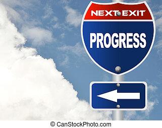 Progress road sign