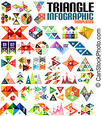 Huge geometric shape infographic template set - Geometric...