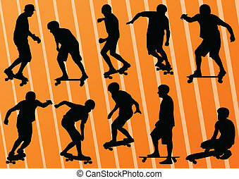 Skateboarders detailed silhouettes illustration background...