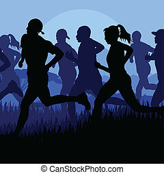 Marathon runners running silhouettes vector background