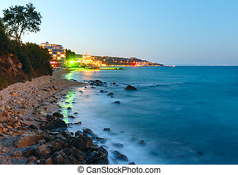 Night summer coastline (Bulgaria). - Night summer coastline...