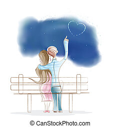 Boy and Girl sitting on park Bench - easy to edit vector...