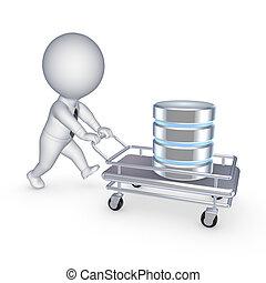 Symbol of database on a pushcart. - Symbol of database on a...