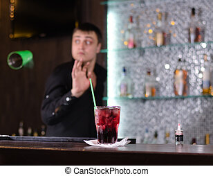 Barman serving a customer
