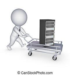 Server on pushcart. - Server on pushcart, isolated on white,...
