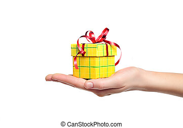 hand holding gift box isolated - female hand holding red and...