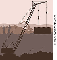 Industrial skyscraper city and crane landscape skyline vector