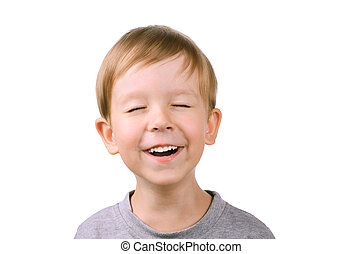 boy laughing with eyes closed - boy 5 years laughing with...