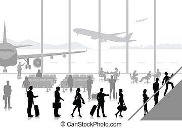 People in Airport Lounge - easy to edit vector illustration...