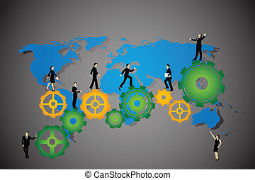 Business People walking on cog wheel - easy to edit vector...