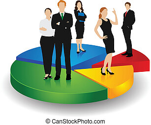 Business People standing over Pie Chart - easy to edit...
