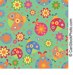 ladybird pattern - Vector seamless pattern with ladybirds...