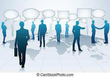 Business People with Chat Bubble - easy to edit vector...