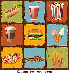 Fast Food - easy to edit vector illustration of fast food on...