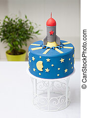 childrens cake rocket the blue