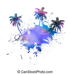 Palm Trees Grunge - Grungy tropical palm tree graphic with...