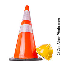 Safety Helmet and Trafic Cone - Safety helmet and traffic...