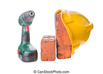 Safety Helmet, Bricks and Drill - Safety helmet, red bricks...
