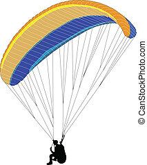 paraglider silhouette - vector - illustration of paraglider...