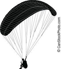 paragliding - vector - illustration of paraglider - vector