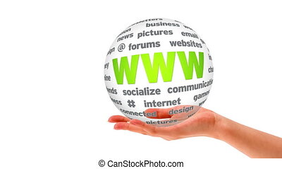 World Wide Web Word Sphere - A person holding a 3D World...