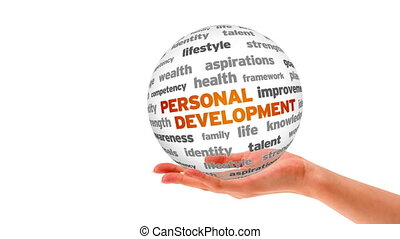 Personal Development Word Sphere - A person holding a 3D...