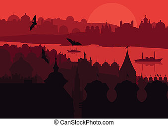 Halloween night old scary city town landscape with flying bats