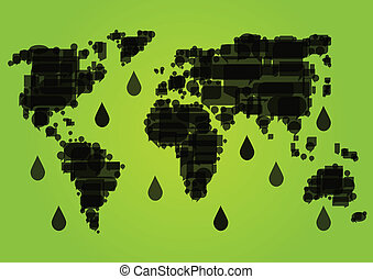 World map made of black dripping oil fields ecology environmental concept background illustration vector