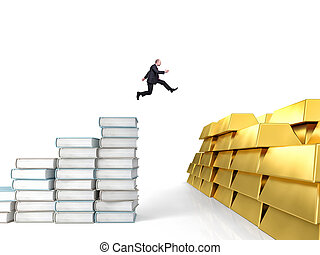 knowledge power - jumping businessman with books and ingots...