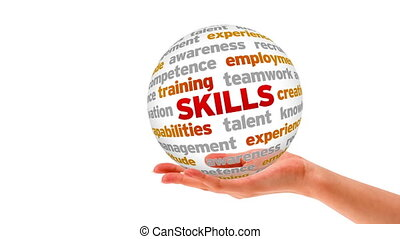 Skills Word Sphere - A person holding a 3D Skills Word...