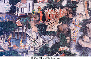 Thai mural painting - Ancient Thai mural painting of the...
