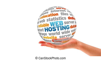 Web Hosting Sphere - A person holding a 3D web hosting...