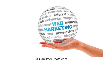 Web Marketing - A person holding a 3D Web Marketing Sphere