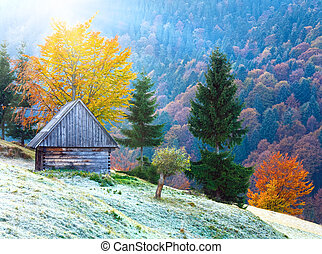 autumn mountain sunshine view with shed - Carpathian...