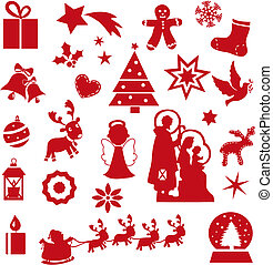 christmas icons - illustration of red christmas icons...