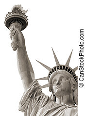 statue of liberty over white