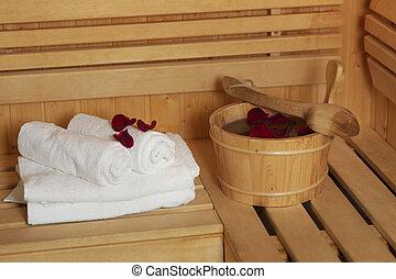 sauna, balde, rosÈ, pétalas