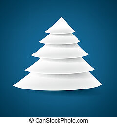 Paper christmas tree. - White paper christmas tree over blue...