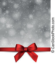 Greeting card with red bow. - Christmas grey snowy...