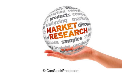 Market Research Word Sphere - A person holding a 3D Market...