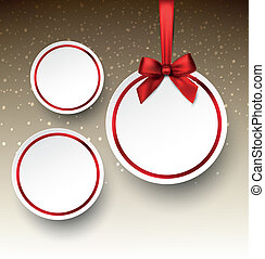 White paper round holiday labels. - Holiday paper round...