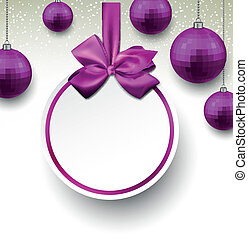 Purple paper round holiday labels. - Holiday purple paper...