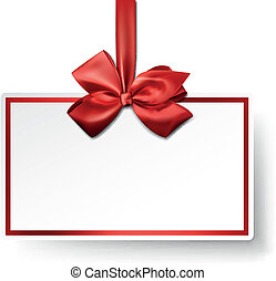 White paper gift card with red satin bow. - Christmas gift...