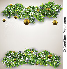 Fir bundle christmas frame. - Detailed frame with fir...